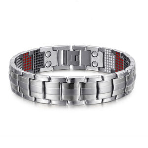 Deluxe Titanium Magnetic Therapy Bracelet Silver Front