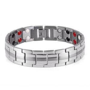 Classic Titanium Magnetic Therapy Bracelet Silver Front
