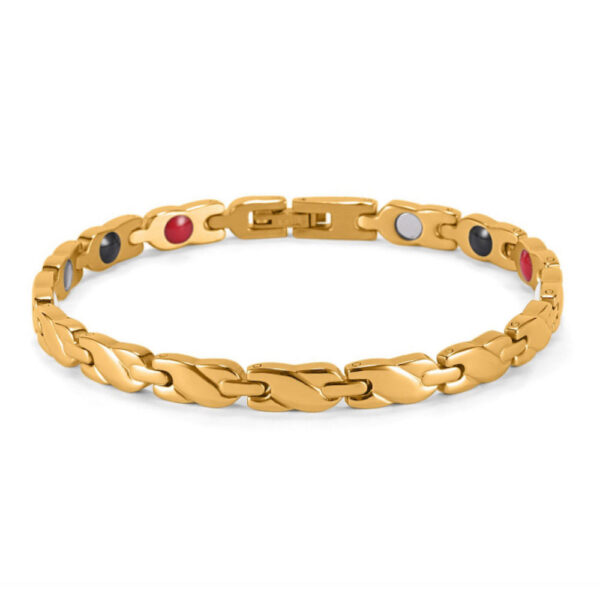 Gold Magnetic Therapy Bracelet Smooth Braid Front