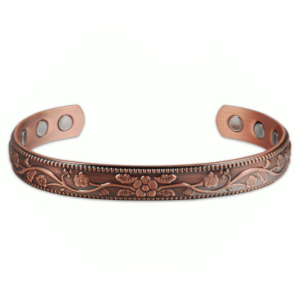 Distressed Floral Pattern Copper Bracelet